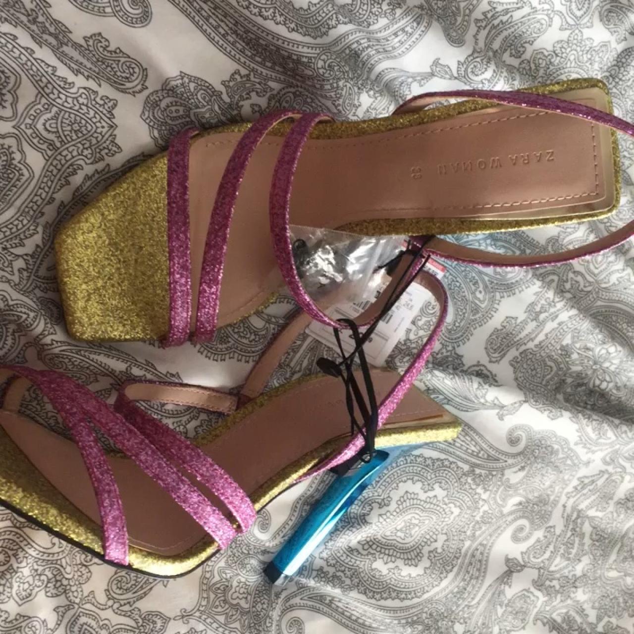 release date: super specials biggest discount Zara shiny multi strap sandals New W with tag no box... - Depop