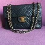 c6450f4c3760 Gorgeous black suede medium Chanel classic bag with silver a - Depop