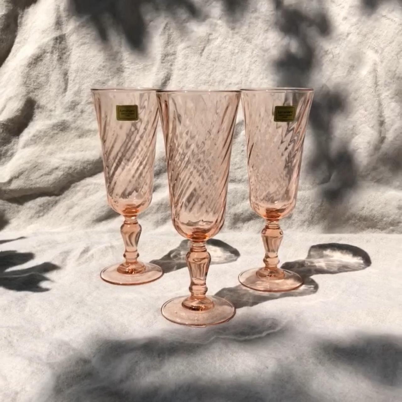 Vintage Pink Champagne Glasses set of 3 Arcoroc    - Depop