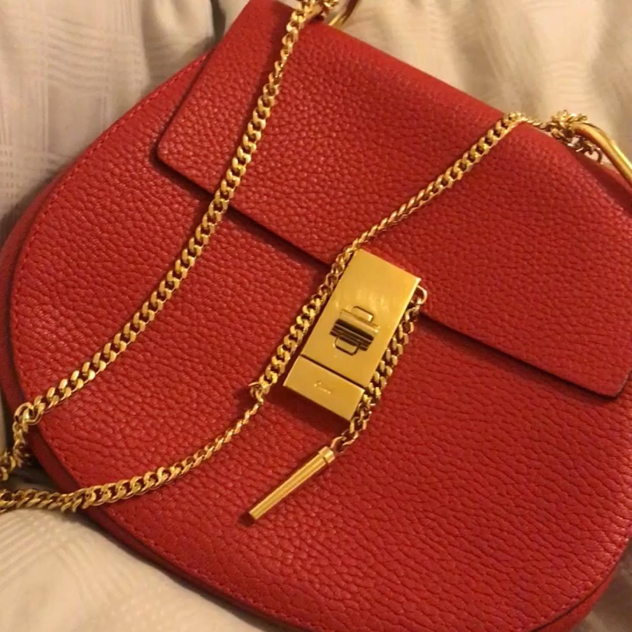 55104990d951 Genuine  designer  Chloe Drew  bag in red leather with gold - Depop