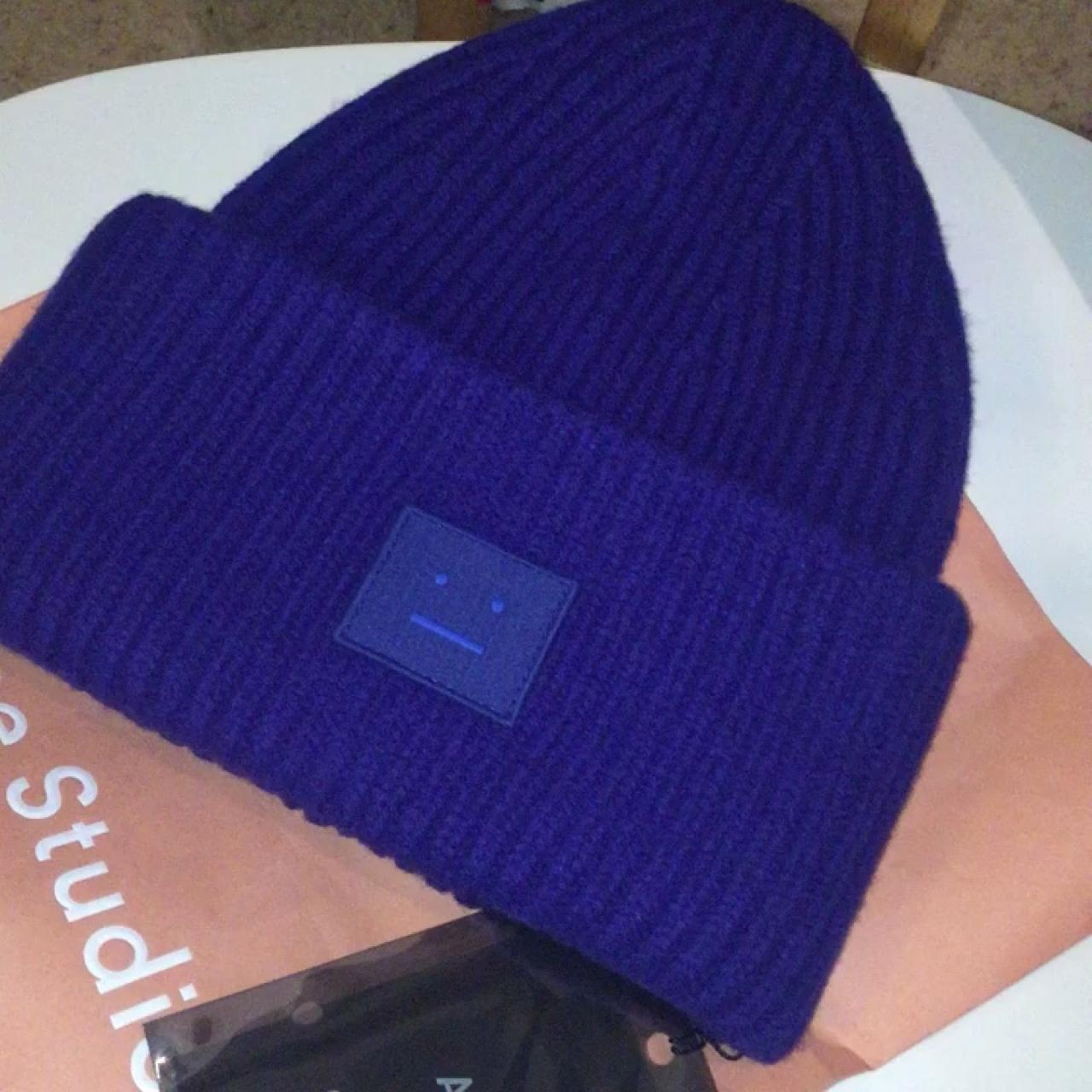 ebf930ef6 Acne Studios Pansy ribbed beanie with face... - Depop