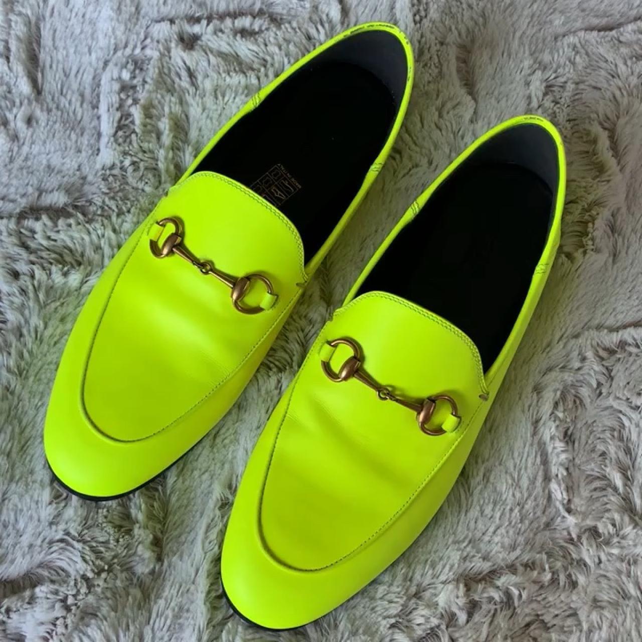 7ddd90b56 Gucci Brixton Neon Leather Horsebit Loafers. Never worn. on - Depop