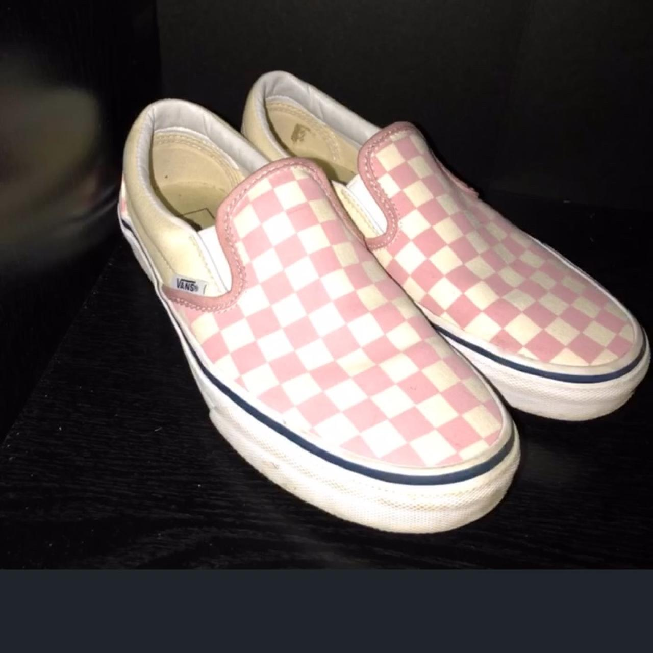 937d5a979a Zephyr Pink Checkered Slip on vans Size  Condition  a of - Depop