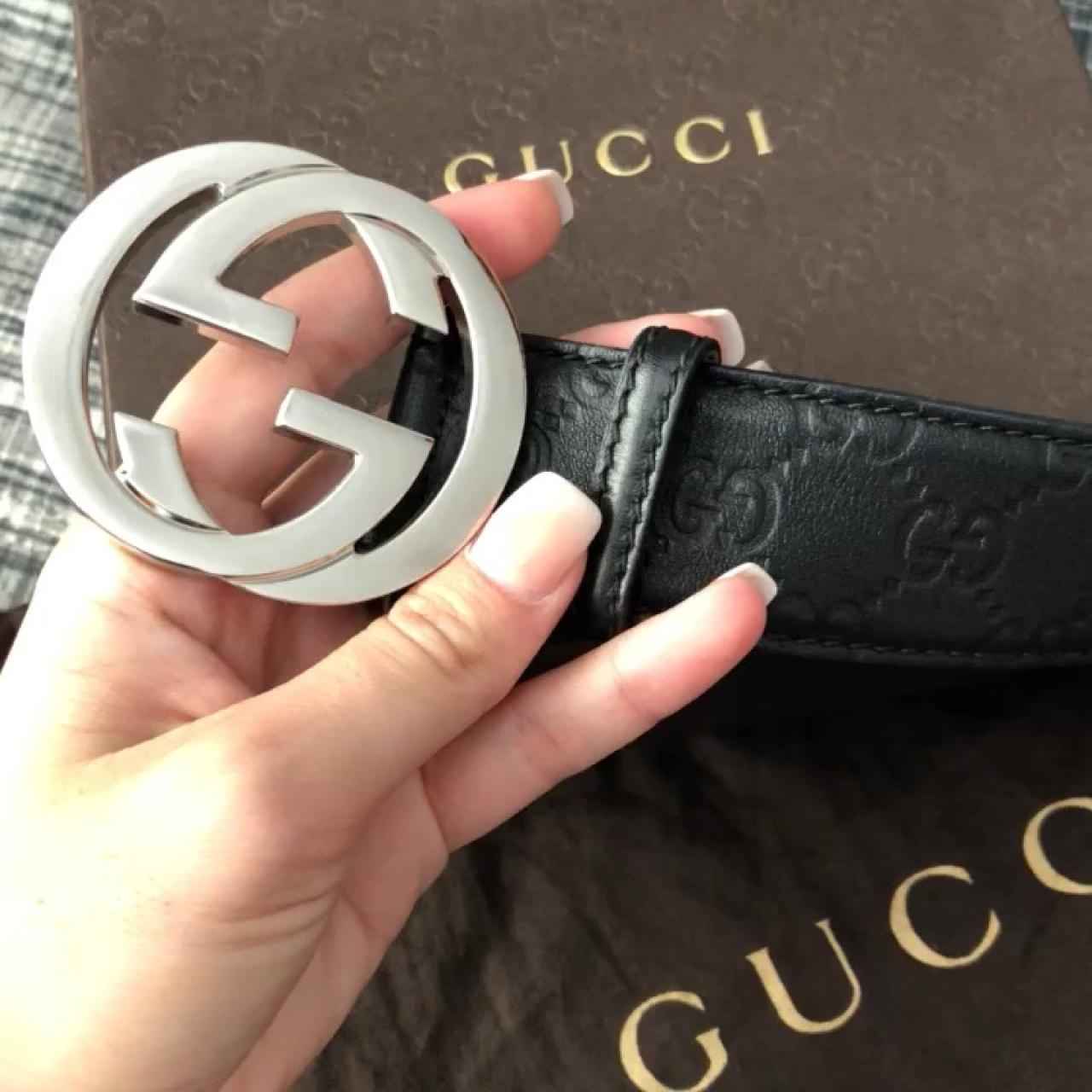 a41e62990 @charlottekilla31. 10 months ago. Lancaster, United Kingdom. Authentic Gucci  Signature Belt. Real leather. Black with silver buckle. ...