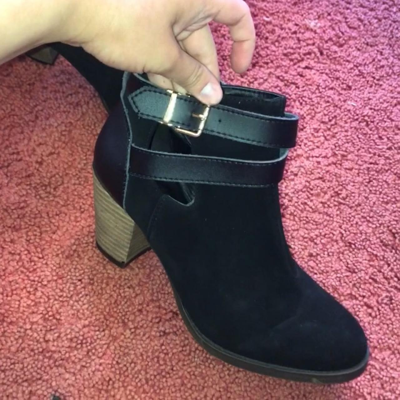 50ef667e6d08 Adorable black booties. Woman s size 9 1 2. Gold buckle