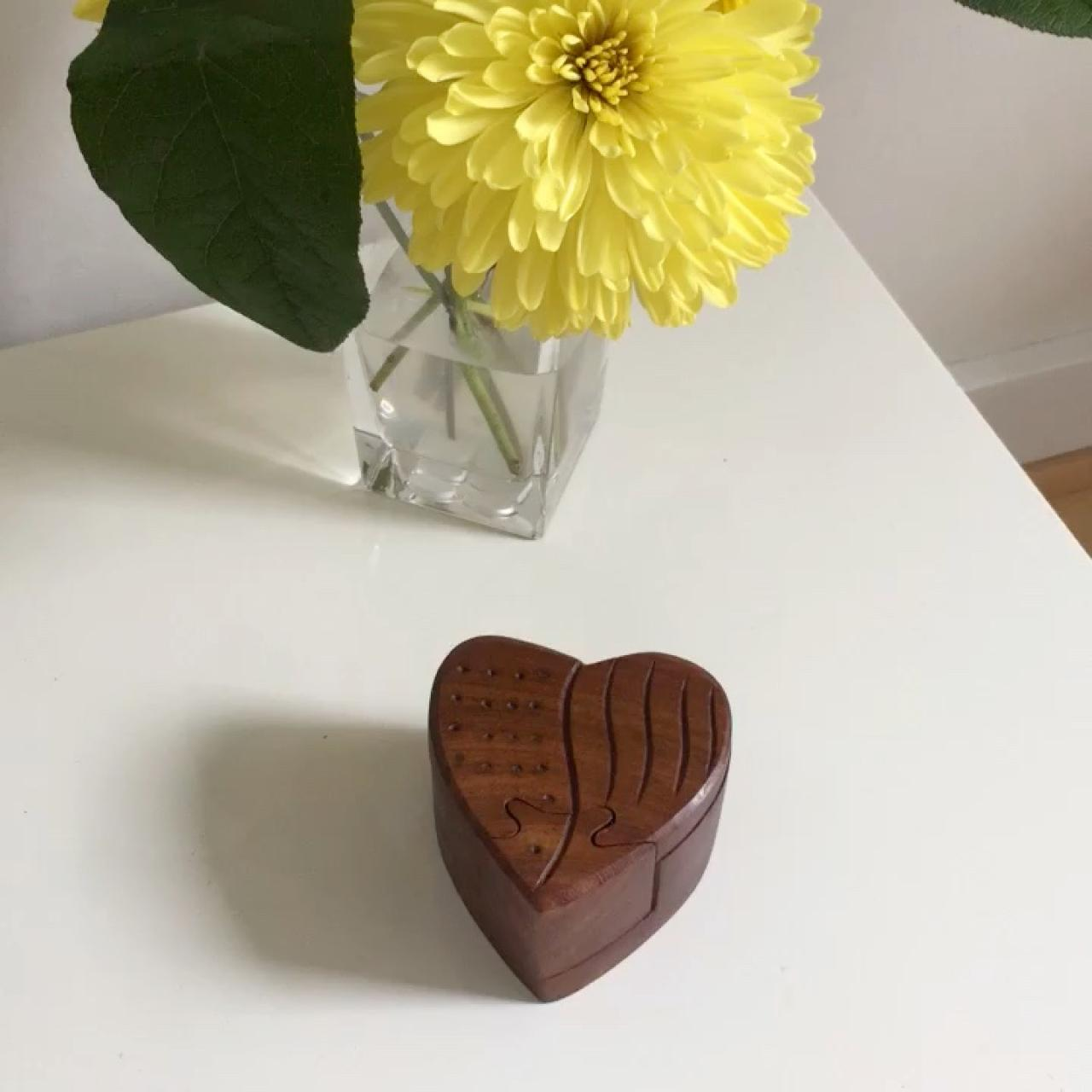 Wooden Heart-Puzzle Keep Safe Perfect to store    - Depop