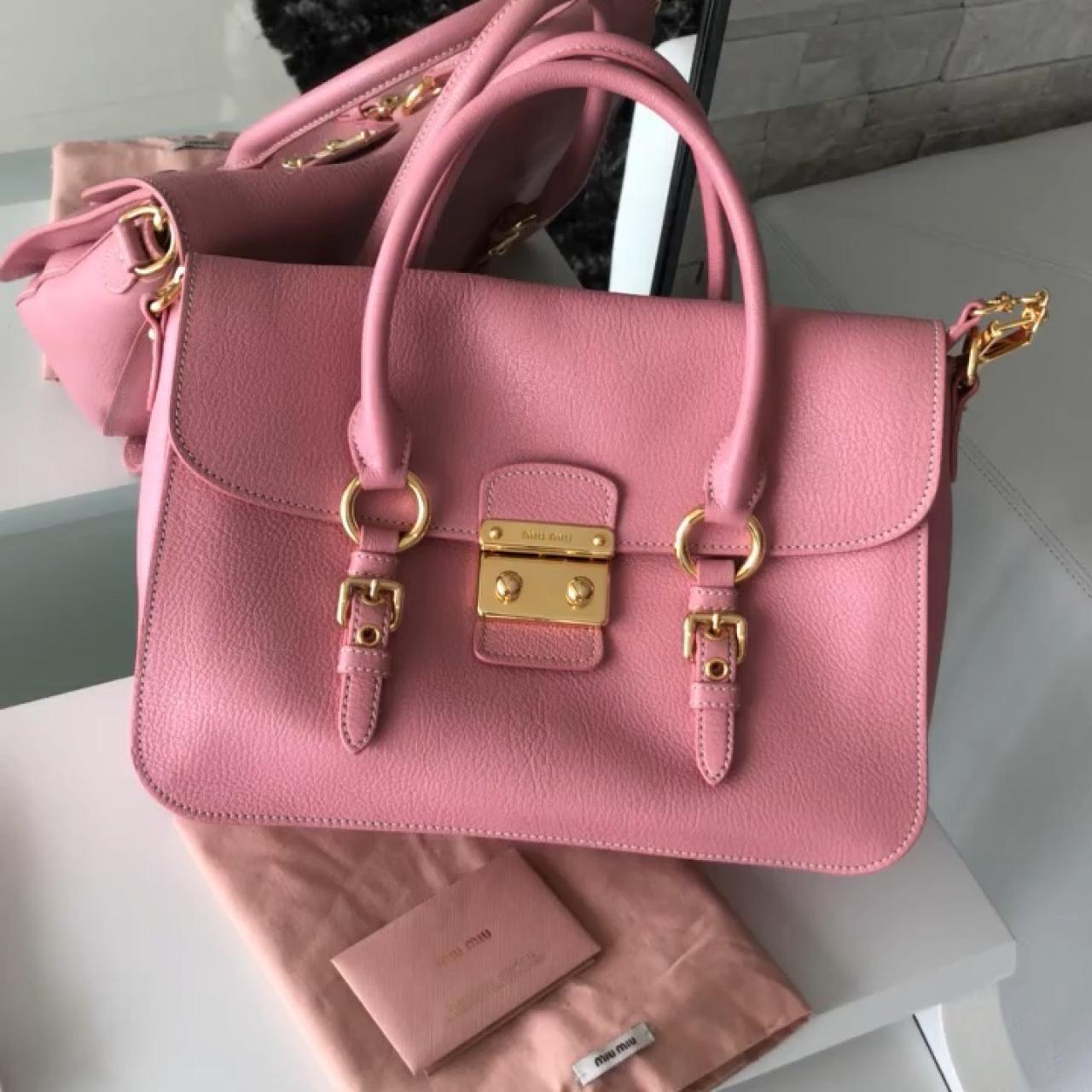 3e09431731da MIU MIU Pink leather top handle bag. GHW. Comes with strap. - Depop