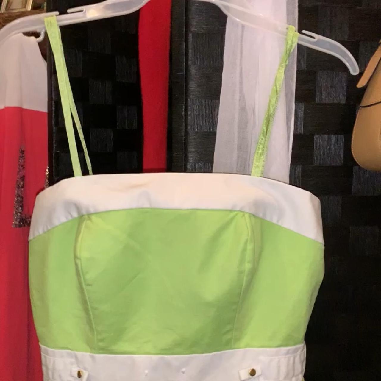 ce4d00b74b7 Green and white strapless dress the brand is Antonio Melani - Depop
