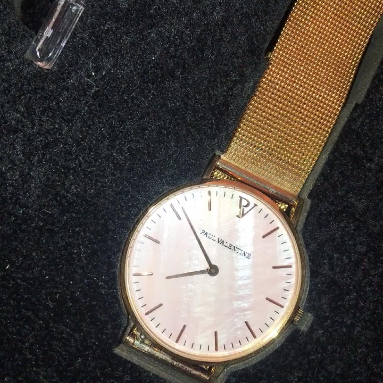 Paul Valentine Rose Gold Pink Seashell Mesh Watch Depop