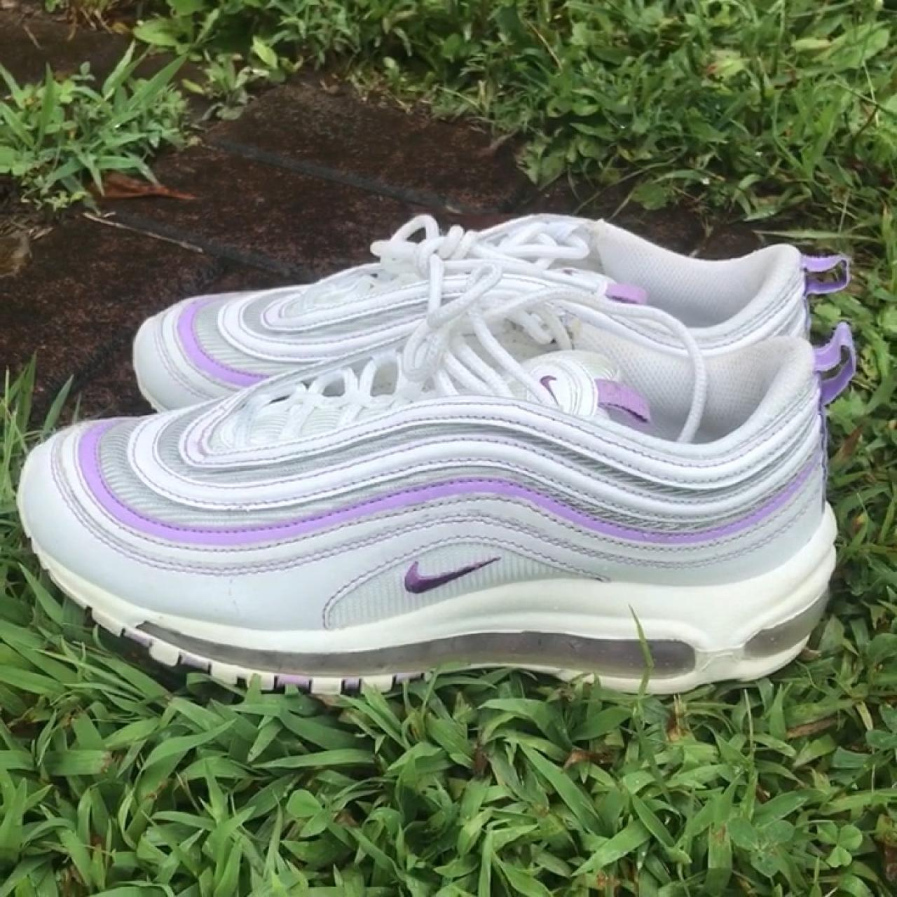 the best attitude e3849 32fc3 NIKE AIR MAX 97 GS PURPLE WHITE. YOUTH: 6.5 FIT A... - Depop