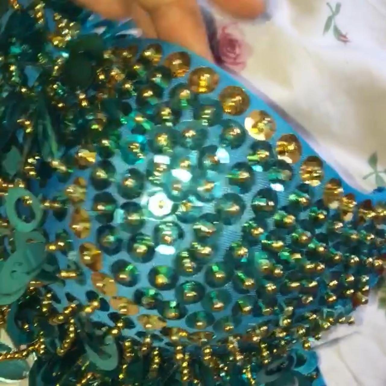 9445121e6a Blue sequin tassel festival bra   bralet. B-D cup. Selling - Depop