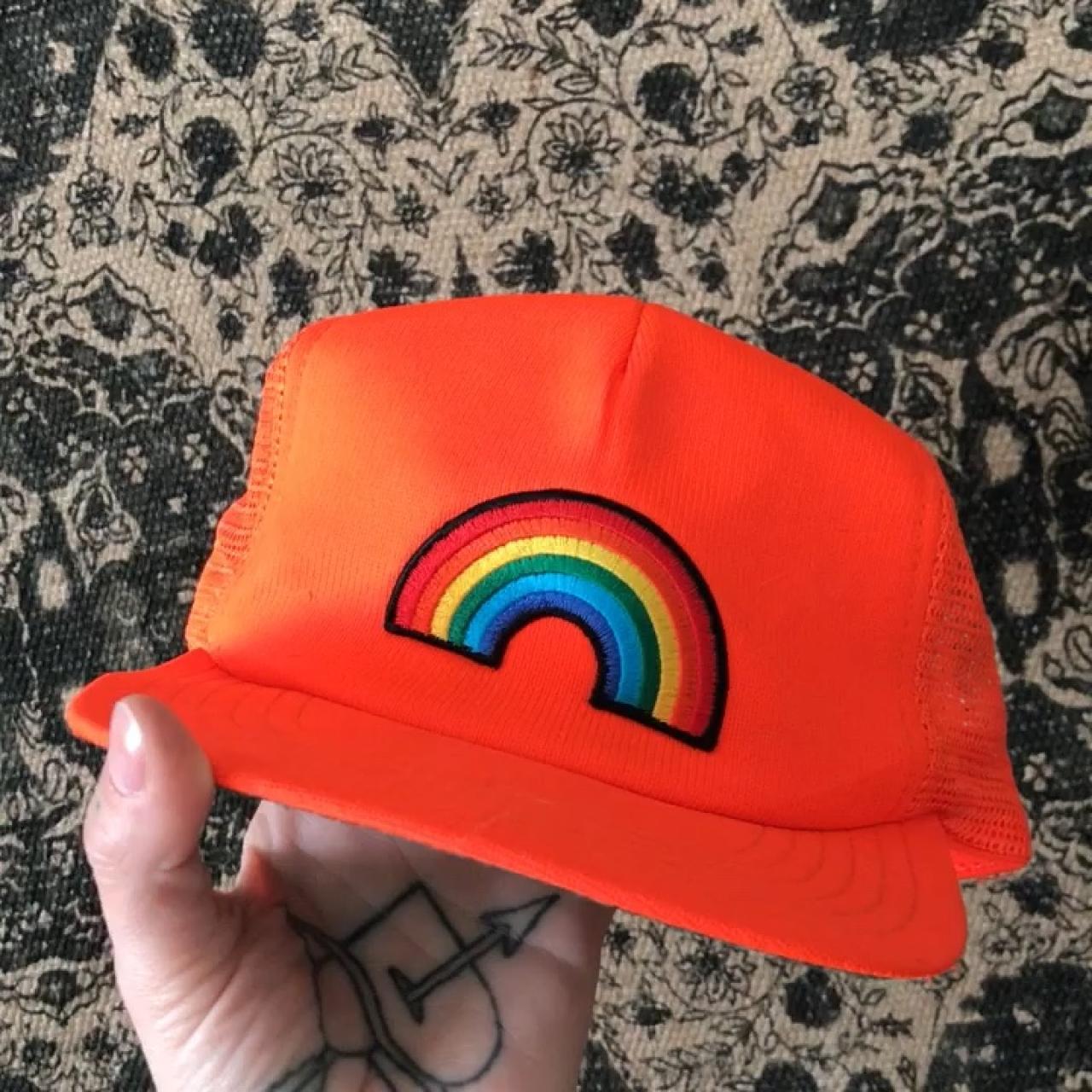ccd0bfd79c8 Vintage rainbow trucker hat. It  in good vintage condition. - Depop