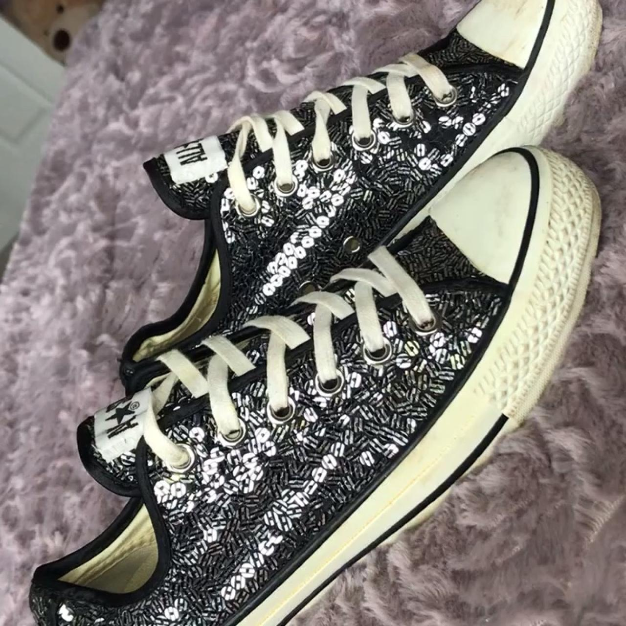 6bdb9fcbda53 Sequin black and silver Converse size 6. These have been but - Depop