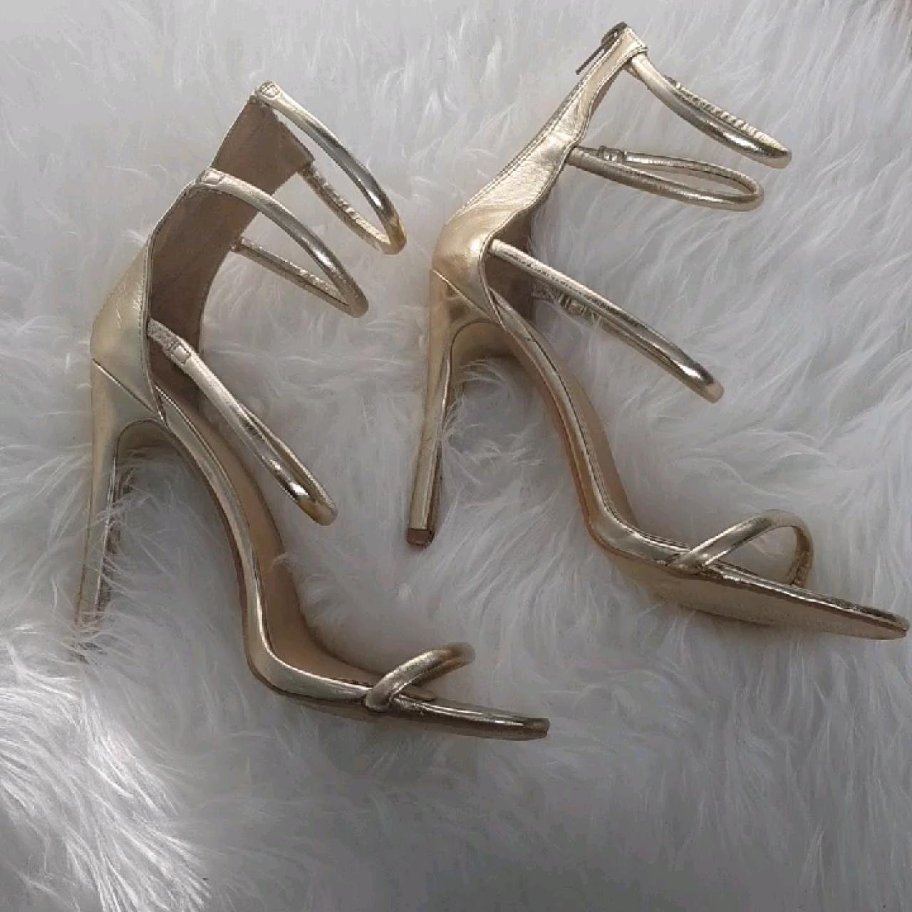 40929a5681f6fa PUBLIC DESIRE 🌸 Nikki Strappy Stilettos in Gold ♡ Size UK - Depop